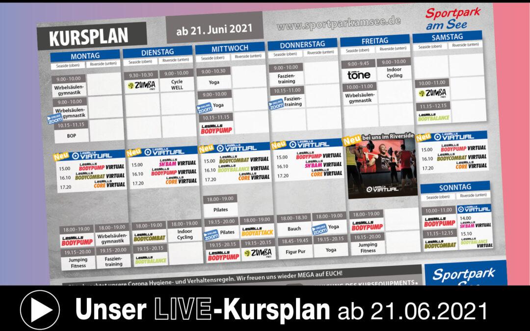 Neuer LIVE-Kursplan ab Montag, 21.06.21